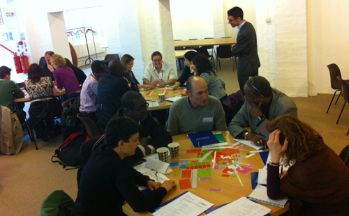 Participants at the session collaboratively exploring the design of a neighbourhood