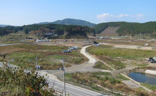 Preparing the land for redevelopment in Minamisanriku