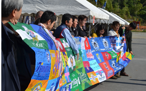 Signed flags sent by teams from the Japanese football league © David Humphries
