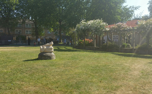 Bromley by Bow Center's park incorporates art and places to sit and play