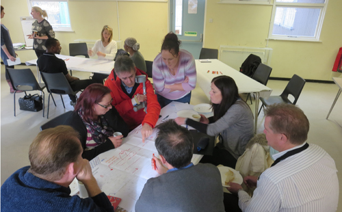 Staff from a housing provider working with local residents to collectively explore opportunities for their area in a Glass-House supported workshop.