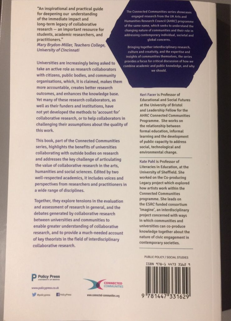 Valuing interdisciplinary collaborative research back cover