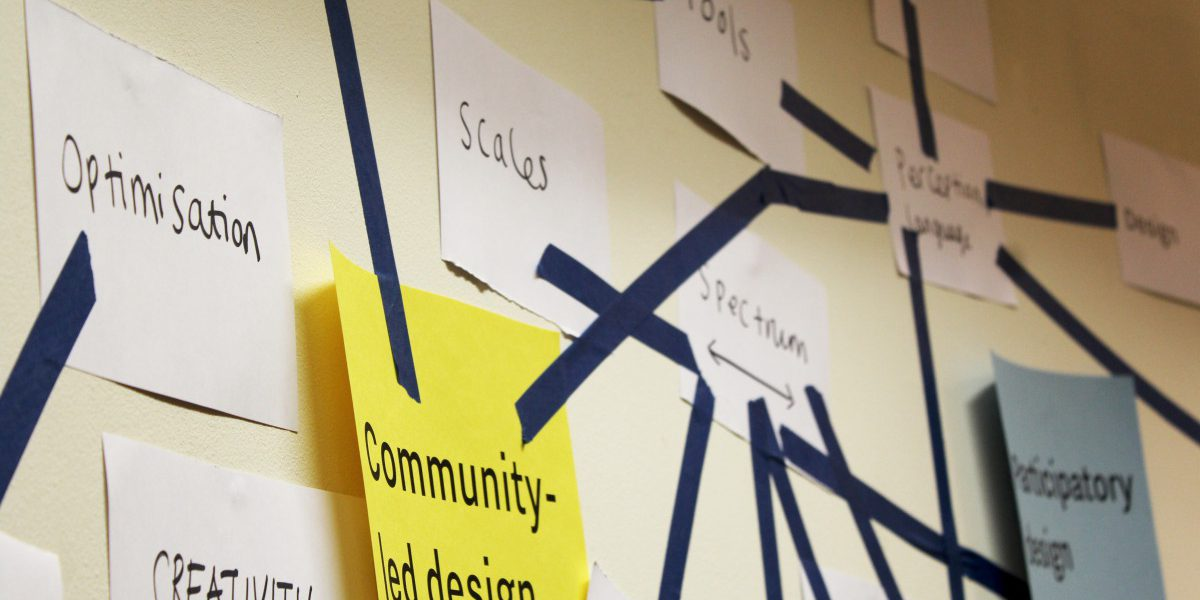 Papers taped to the wall linking together different ideas with Community-led design in the centre
