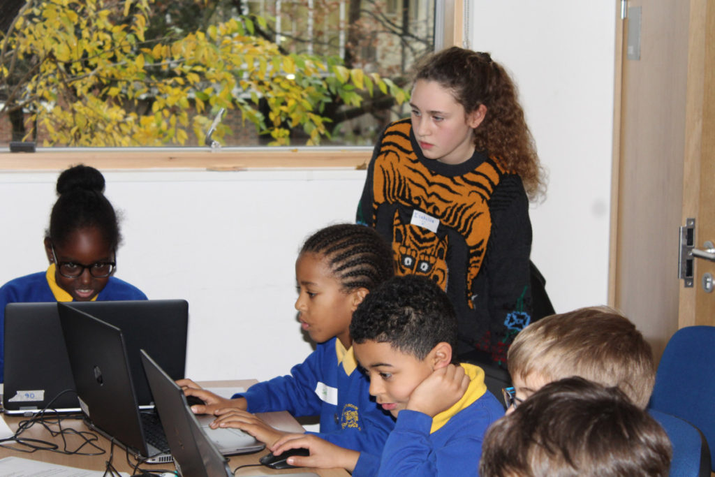 Isabella helping students at St Marks Church in 2018