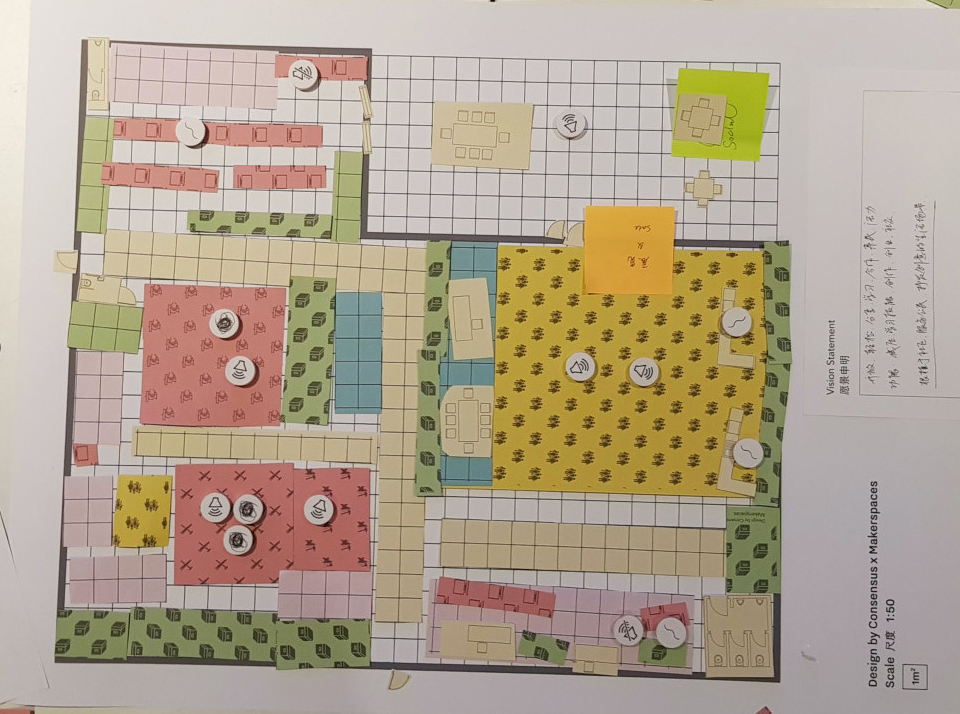 Collaging design ideas for a makerspace