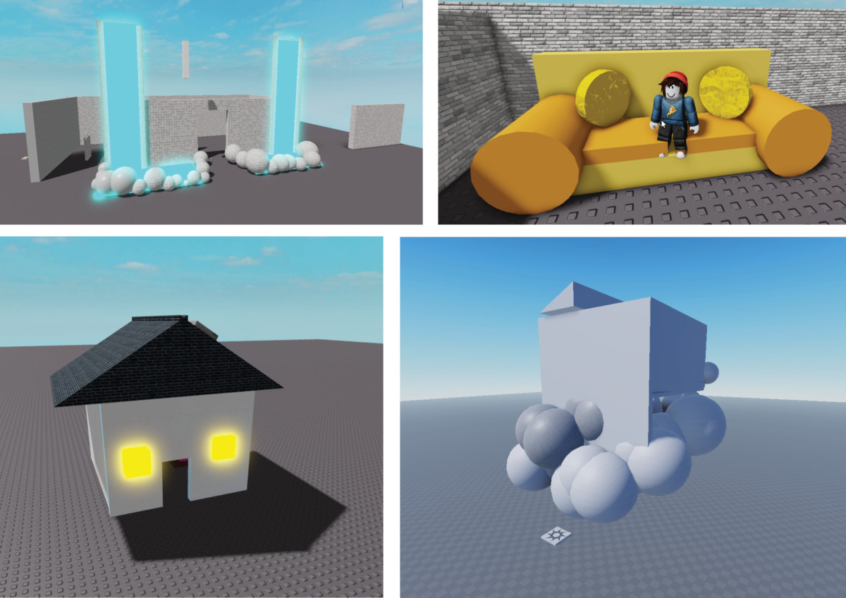 A number of individual builds made by the students in Roblox Studio (2021)
