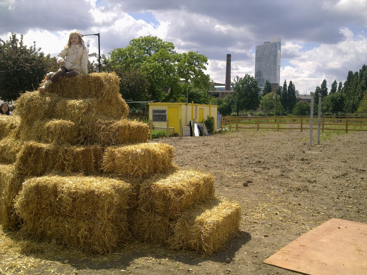 Hay bales stacked high during the Sheep and Wool Fair.